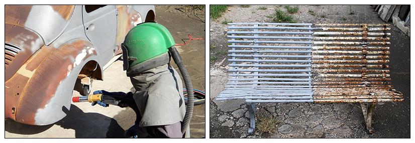 Décapage du métal par aérogommage