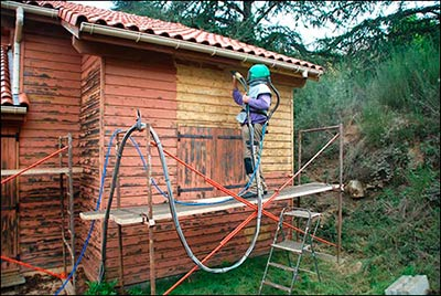 Aérogommage chalet en bois
